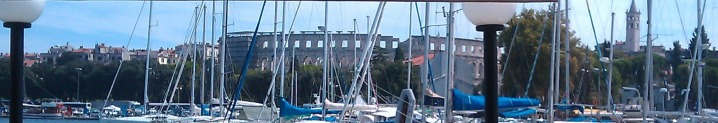 View of the Pula amphitheater from the marina